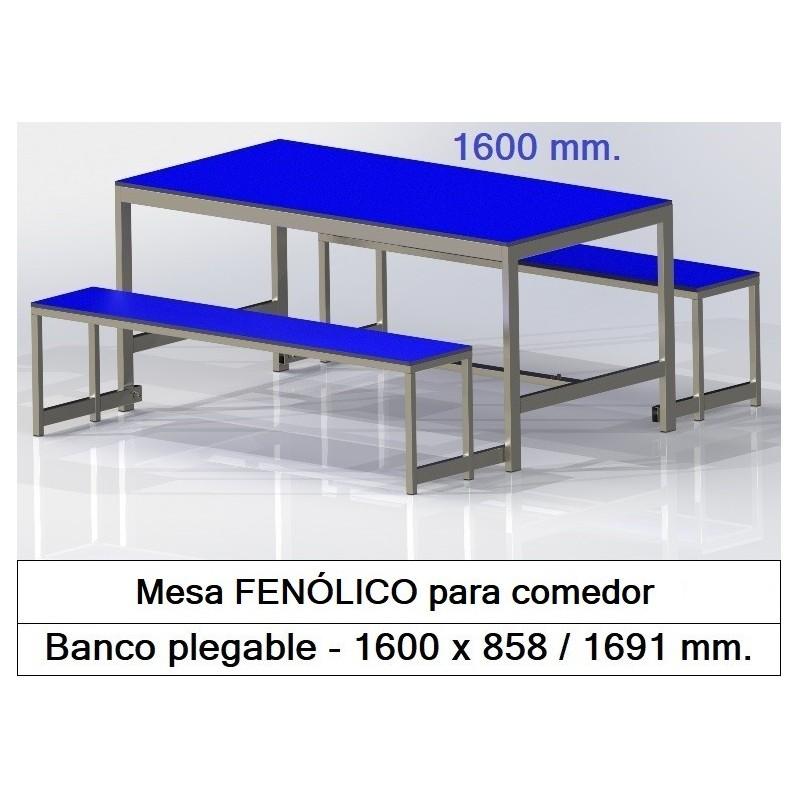 Mesas fenólico con bancos plegables