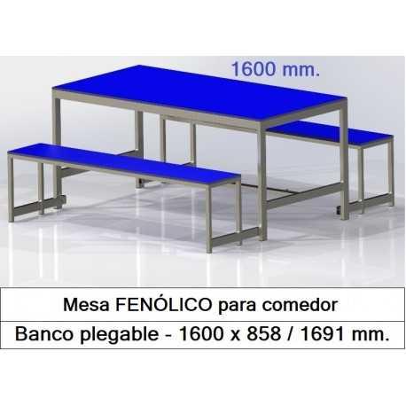 Mesas con bancos plegables