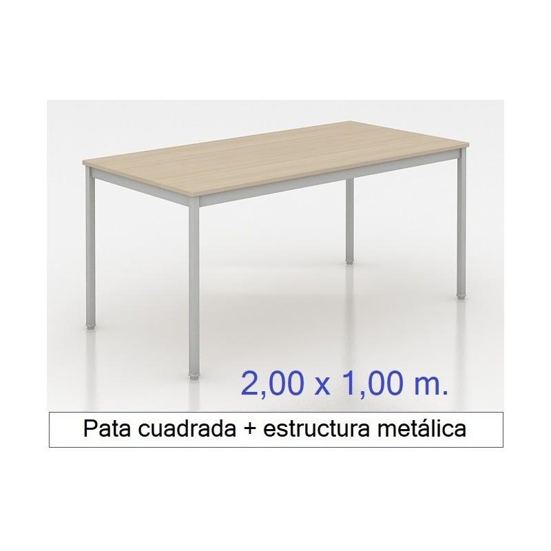 Mesa MADI-2000 x 1000 patas cuadradas