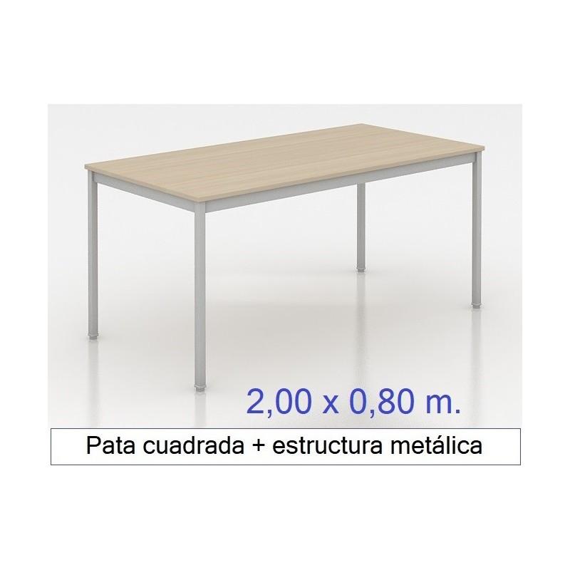Mesa MADI-2000 x 800 patas cuadradas