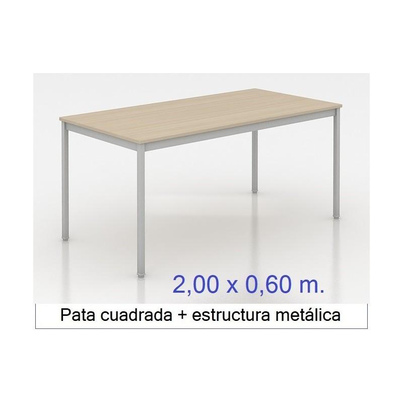 Mesa MADI-2000 x 600 patas cuadradas