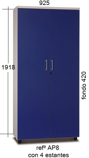 Armario de melamina de 1,918 m. de alto, con cerradura y puertas bateinets