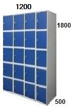 Medidas de taquillas de 5 puertas y 3 cuerpos, de ancho de 30 cm.
