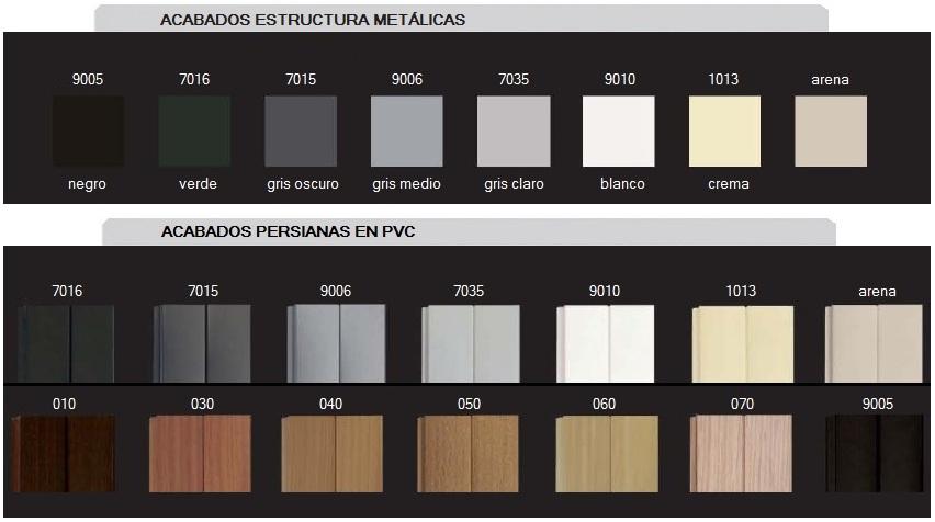 Colores para los armarios de persianas.