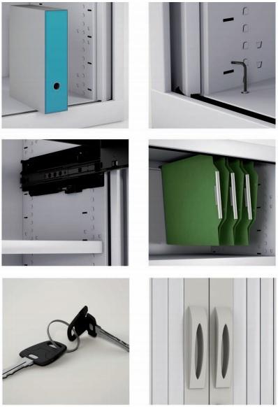 Componentes de los armarios de persianas.