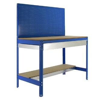Banco de trabajo MT2 con cajón; azul y madera.