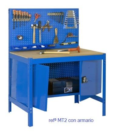 Banco de trabajo MT2 con panel y armario.