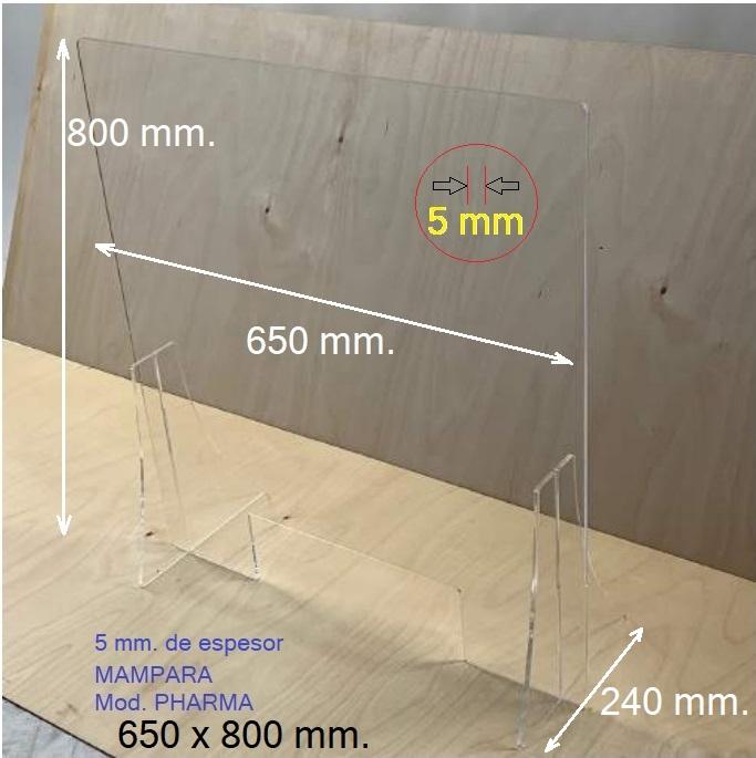 Mamparas contra contagios, fabricadas en metacrilato transparente y 100% reciclable. De 5 mm. de espesor y bordes redondeados.