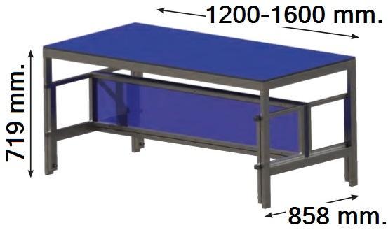 Mesas con bancos plegables. Encimeras de fenólico y estructura de acero pintado gris. Cómoda limpieza del entorno.