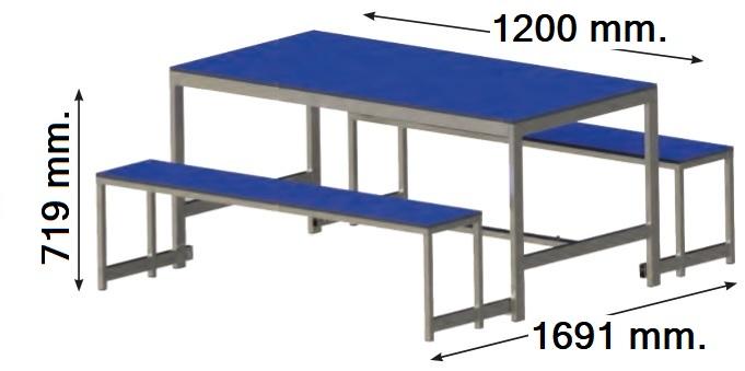 Mesa con bancos plegables de 1200 y 1600 m. de largo. Encimeras de melamina y estrcutura de acero pintado epoxi.