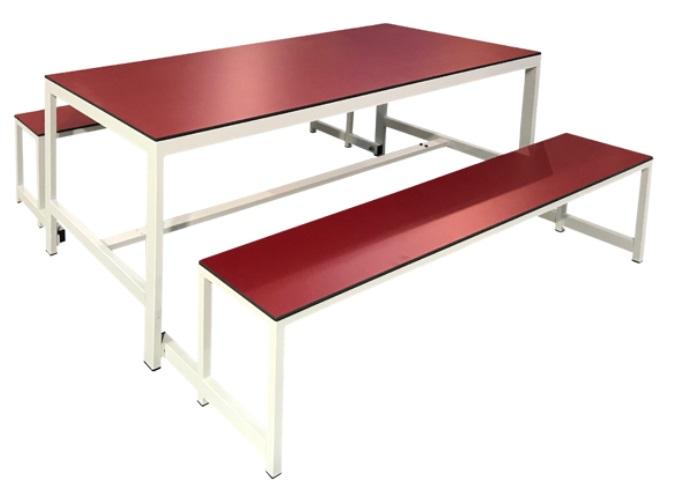 Mesa de melamina con bancos plegables. Estructura metálica soldada. Mesa para comedor que permite aprovechar el espacio, mantener el orden y limpiar con comodidad.