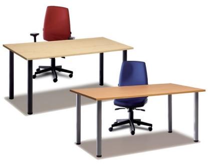 Mesas MODI de patas redondas para mesa de trabajo con encimera de melamina.