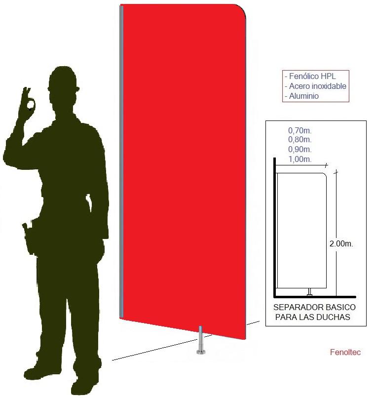 Tapa vistas o separadores de duchas, de urinarios y de zonas.