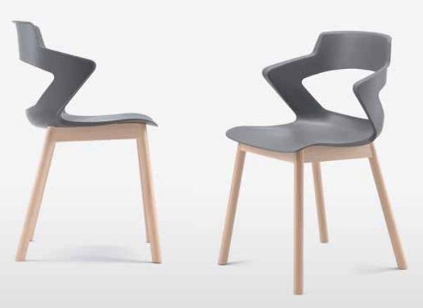 Modelo de sillas CREA, con 4 patas de madera y asiento y respaldo de polipropileno.