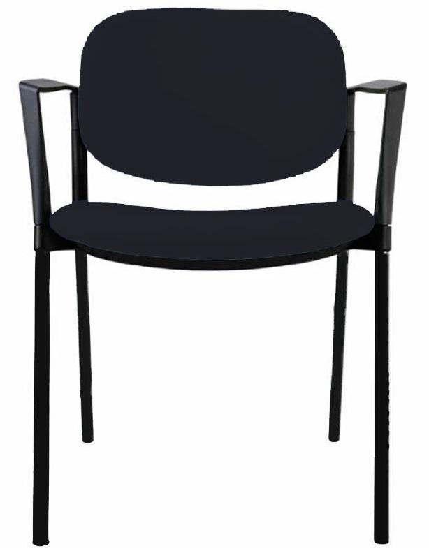 Silla STOP de estructura negra y tapizado en negro.