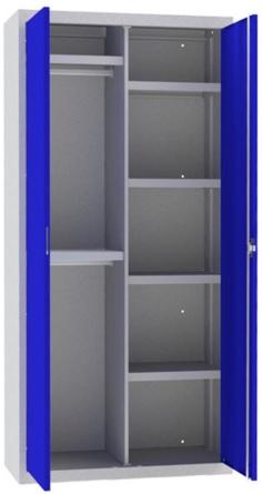 Armario de puertas batientes con estantes, roperos y cerradura.