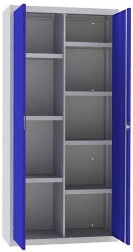 Armario de puertas batientes con cerradura de falleba y siete estantes con separador vertical.