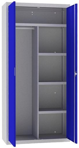 Armario de puertas batientes con cerradura y 4 estantes horizontales y un separador vertical.